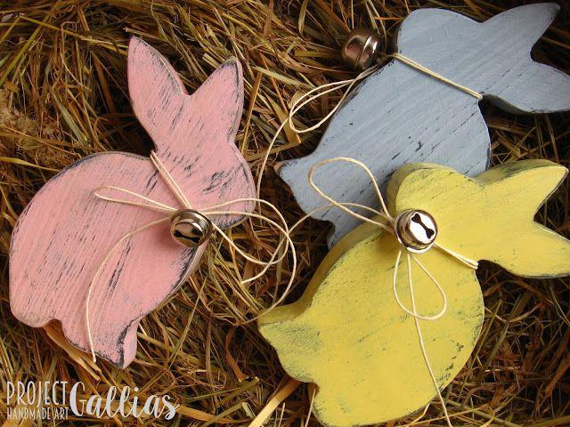 ProjectGallias: #projectgallias wielkanocne zajączki, króliki, drewniane; vintage wooden easter bunny, 100% handmade
