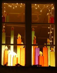 Tissue paper candels in the window - DIY Christmas Decoration