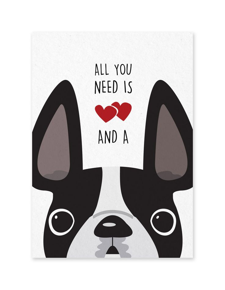 "All You Need is Love & a Frenchie - French Bulldog Greeting Card by ©French Bulldog Love Front: ""All You Need is [Love] & a [Frenchie]"" Inside: Blank CARD: one 5x7 folded card ENVELOPE: 100% recycled"