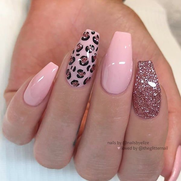 Theglitternail Get Inspired On Instagram Pastel Pink Animal Print And Glitter On Coffin Leopard Print Nails Cheetah Print Nails Pink Acrylic Nails