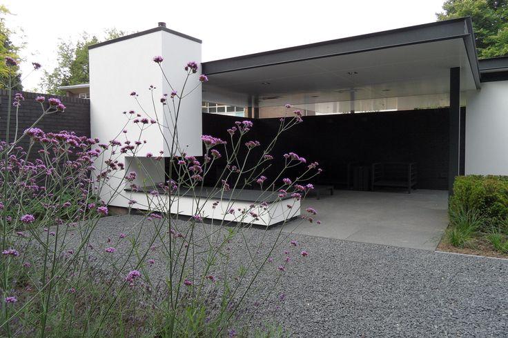 Buiten overkapping met openhaard strakke overkapping for Moderne tuin met overkapping