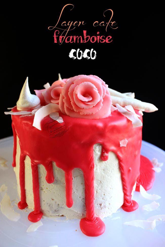 Layer cake girly framboise et noix de coco / Il était une fois la pâtisserie #layercake #rose #girly