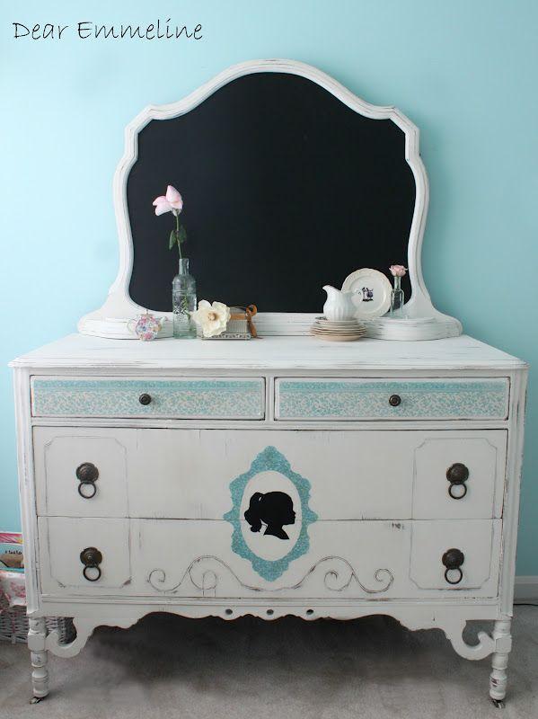 Dear Emmeline Blog: Antique Silhouette and Chalkboard Dresser. Most adorable dresser, ever.