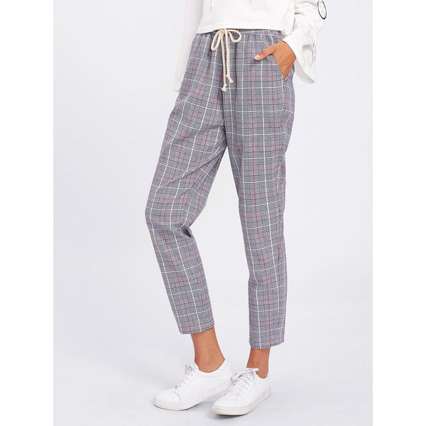 SheIn(sheinside) Drawstring Detail Plaid Peg Pants (60 RON) ❤ liked on Polyvore featuring pants, capris, grey, draw string pants, high waisted pants, cropped capri pants, high waisted loose pants and high waisted crop pants