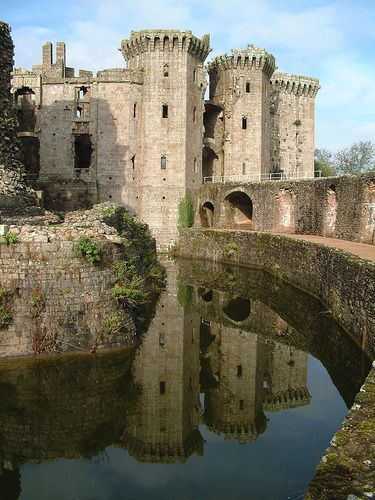 """Raglan Castle, Wales- on a late medieval site the modern castle dates from between the 15th and early 17th-centuries, described as one of the """"last formidable displays of medieval defensive architecture""""."""