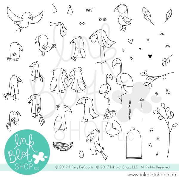 Ink Blot Shop Clear Stamp Set FLOPSY BIRDS INBL020 zoom image
