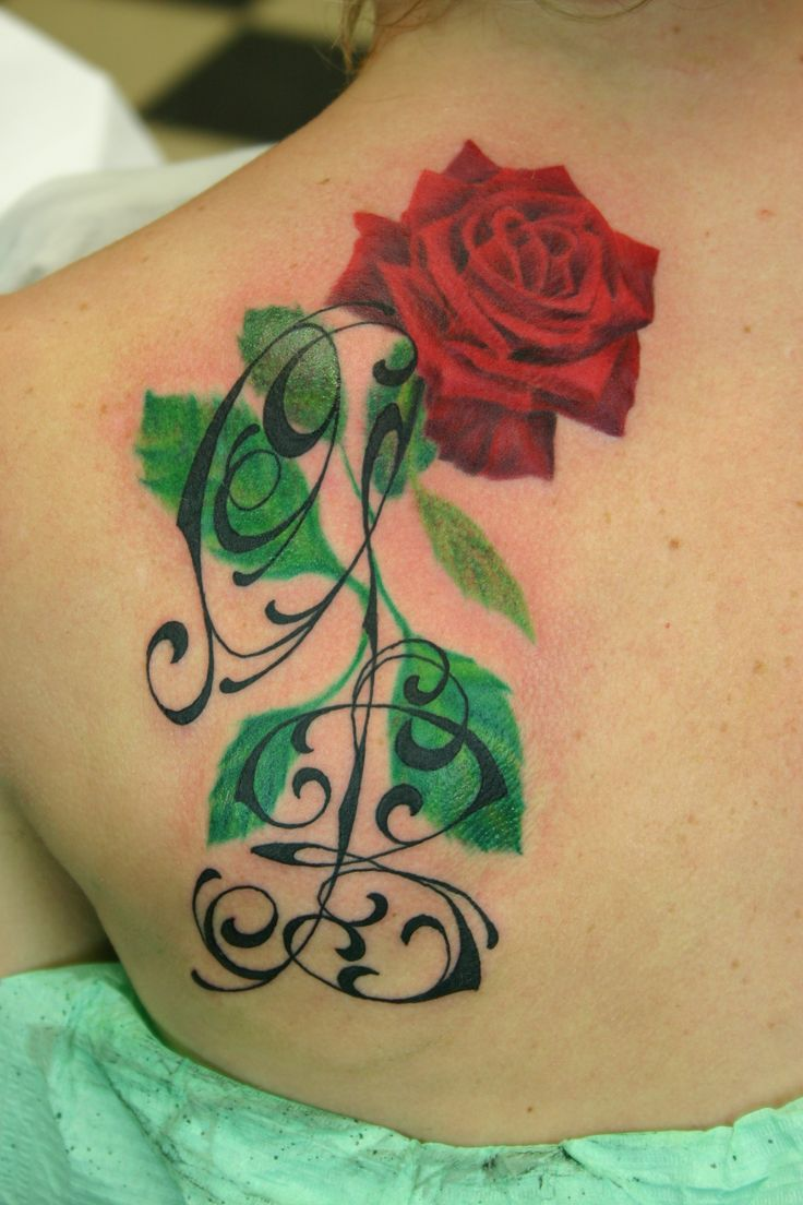 red rose tattoo with initials / rosa rossa tatuaggio con iniziali