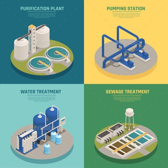 Wastewater Purification Isometric Icons Square Ad Purification Sponsored Wastewater Isometric Squar Water Treatment Plant Wastewater Sewage Treatment