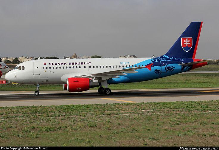 Slovak Government Flying Service Airbus A319-115(CJ) OM-BYA aicraft, skating at Malta Luqa International Airport. 07/10/2016.