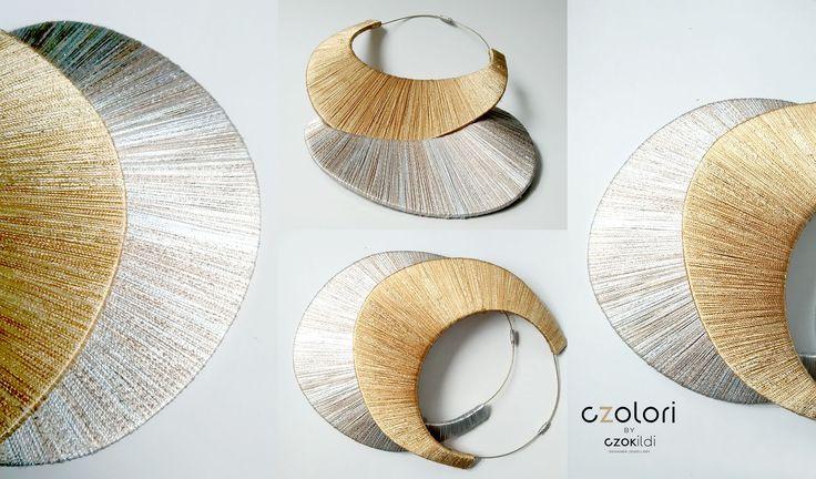 Gold and silver shades, yarn wrapped statement jewellery by Czolori http://czokildihu.bigcartel.com/