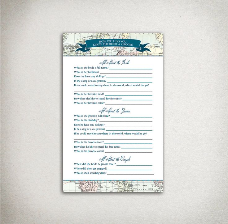 COUPLE'S QUIZ: Vintage Travel Map Bridal Shower - Bride, Groom - blue teal - Journey - DIY Printable Instant Download - Shower Game Activity by DraftEleven on Etsy https://www.etsy.com/listing/241550224/couples-quiz-vintage-travel-map-bridal