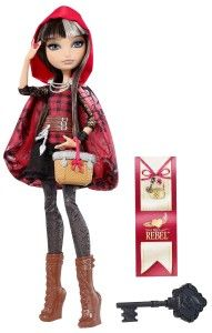 """Cerise Hood Fashion Doll Cerise Hood, is the daughter of Little Red Riding Hood.  Cloaked in mystery and lone wolf attitude gives this doll a little more character than the rest. She has two secretes, 1. Her father is the big bad wolf.  2. The reason for her wearing the hood, is to hide the evidence of who her father is as she has """"half-wolf ears. http://bitly.com/1zdaV7F"""