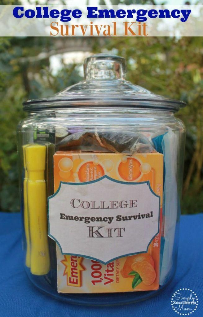 Do you have a student or friend who is going away to college? Give them a pick me up with this easy DIY College Emergency Survival Kit Gift Basket. #survivalknife