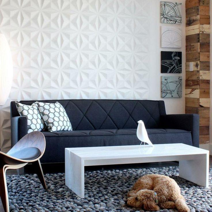 Panneau mural 3 D pour le salon moderne avec un canapé rembourré