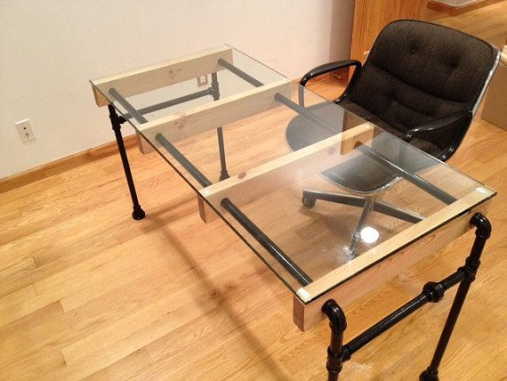 a modern industrial desk made of black steel pipe and doug fir wood to support 48 x 18 tempered glass top the total dimensions iron furniture