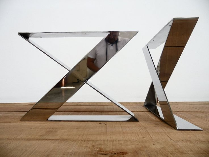 """16"""" X-frame Flat Stainless Steel Table Legs16"""" X-Shaped  Flat Steel Coffee Table Legs- Awesome Finishing Quality...Stainless steel coffee table legs have X-shaped design ,gives modernity to all designs with marble ,wood or glass.Awesome quality for polished or brushed option"""