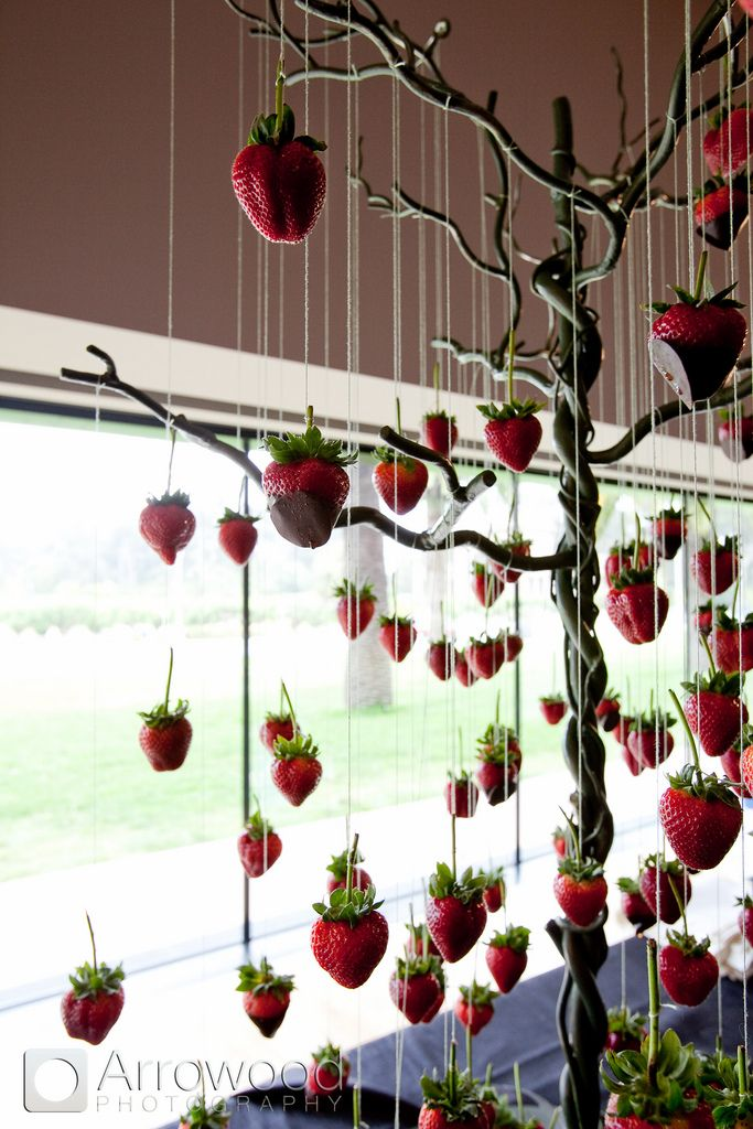 suspended chocolate covered strawberries by McCalls Catering[ BookingEntertainment.com ] #food #events #entertainment