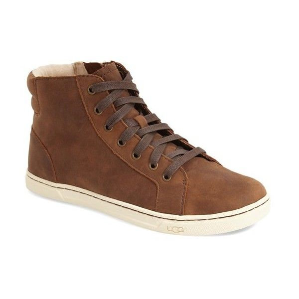 Women's Ugg 'Gradie' High Top Sneaker featuring polyvore women's fashion shoes sneakers chocolate leather ugg shoes high top sneakers ugg sneakers leather hi top sneakers high top leather shoes