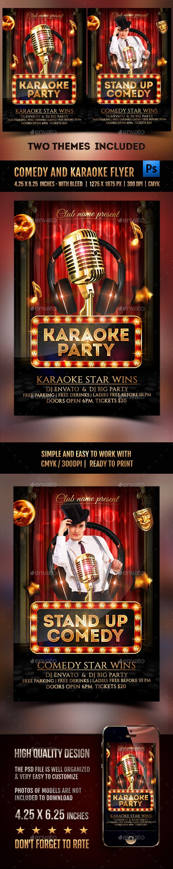 Comedy and Karaoke Party Flyer Template PSD #design Download: http://graphicriver.net/item/comedy-and-karaoke-party-flyer/12873540?ref=ksioks
