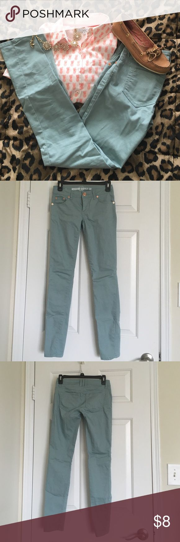 Mossimo Light Teal Skinny Jeans Light teal skinny jean (with stretch). Good condition! Mossimo Supply Co Jeans Skinny