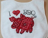 Terry Cloth Bib with Pig and I love BBQ.  Great for July 4th.. $12.00, via Etsy.