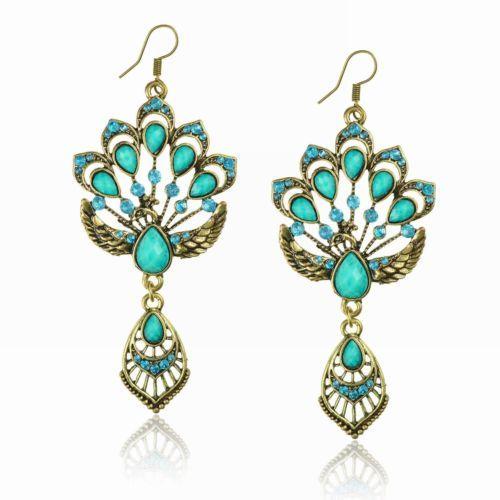 Turquoise-Vintage-Copper-Teardrop-Peacock-Rhinestone-Crystal-Resin-Earrings