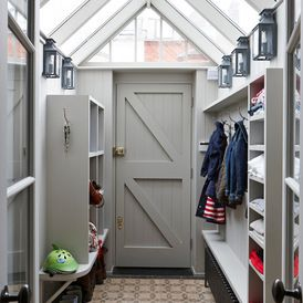 Like this concept for rear entrance / boot room. Light & airy with storage that doesn't appear to take up too much room.