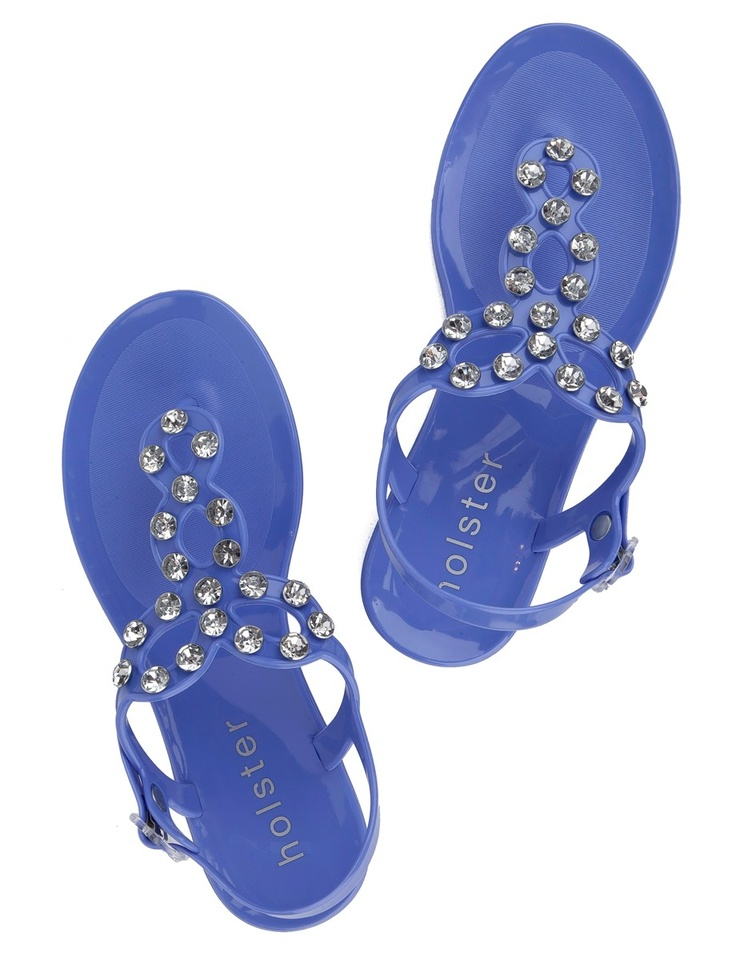 Holster Persian blue Swarovski Jelly Flat Sandals