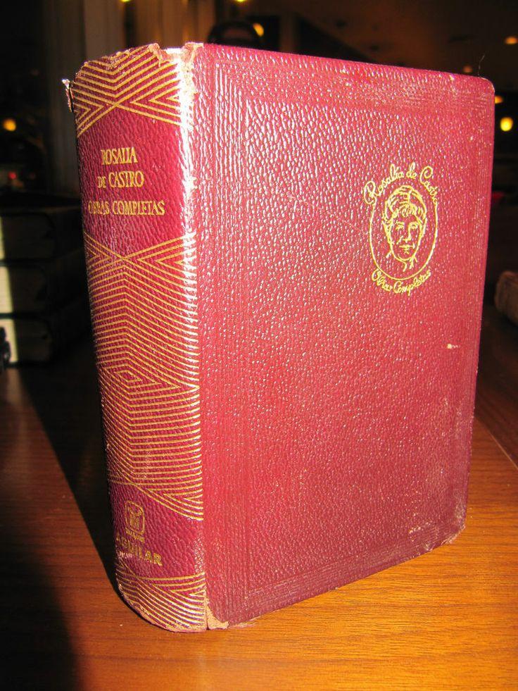 SCARCE ROSALIA DE CASTRO OBRAS COMPLETAS 1966 AGUILAR LEATHER EDITION G++!!!