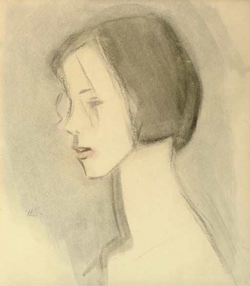Helene Schjerfbeck (Finnish, 1862-1946), Nina - Söndag [Nina - Sunday], 1922. Watercolour and charcoal on paper, 37.5 x 32 cm.