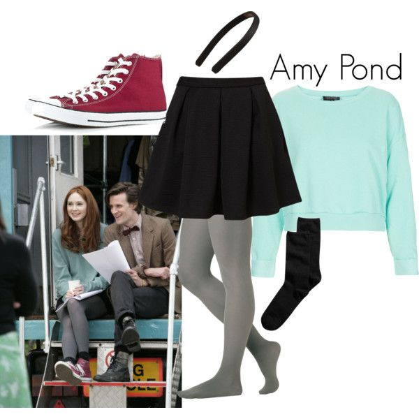 Amy Pond - Polyvore (edited by missy: I love the mint sweater and black skirt!!!! Would love to have them.