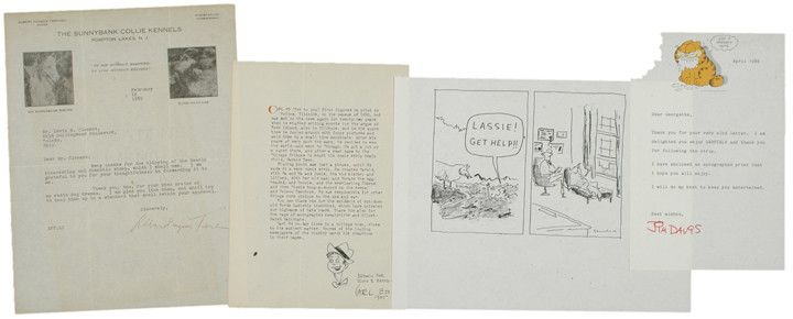 CARTOONISTS & AUTHOR LOT Including Letter by GARFIELD THE CAT Creator JIM DAVIS