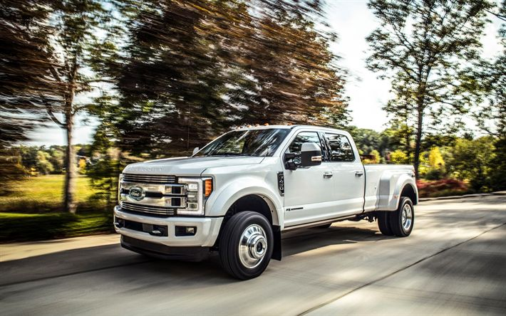 Download wallpapers Ford F-450 Limited, 2018, 4k, new cars, white pick-up F-450, limited edition, American cars, Ford