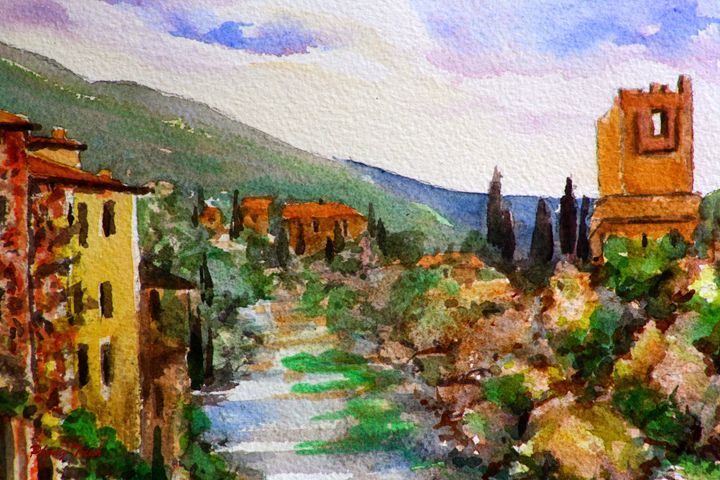 Lagrasse (12) - Phong Trinh Watercolor. More Fine Art Print Available at http://www.artpal.com/phongtrinh/