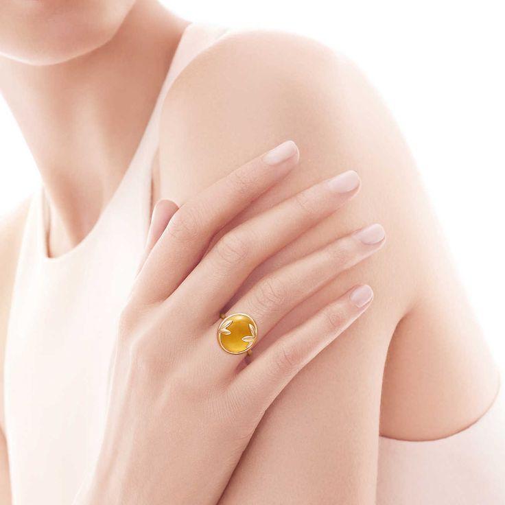 Anel Olive Leaf de Paloma Picasso™ em ouro 18k com um citrino.