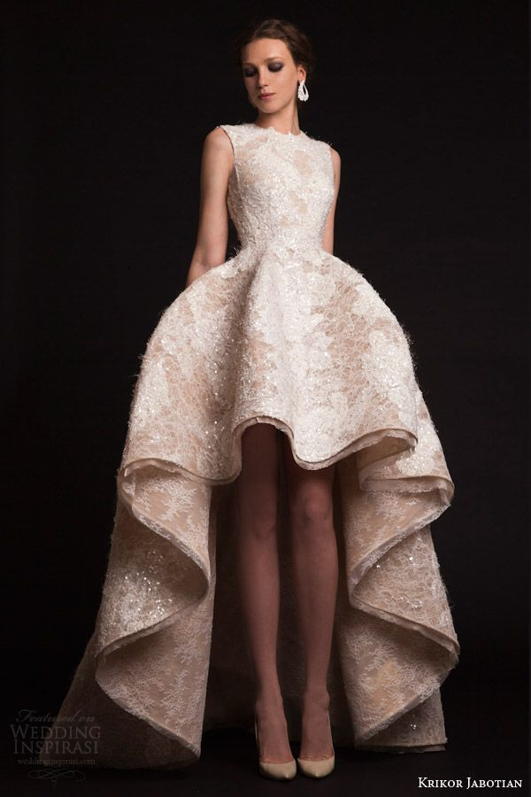 krikor jabotian bridal spring 2015 sleeveless high to low wedding dress #mulletdress #mulletweddingdress