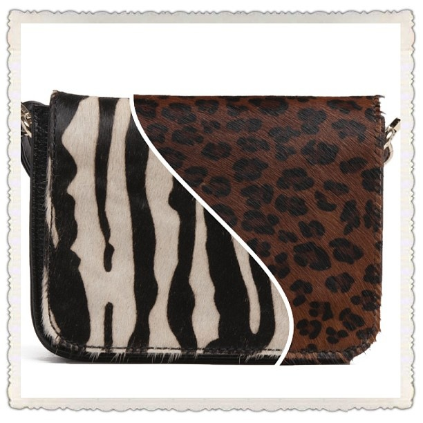 BOVE bags- available in Zebra (left), Ocelot (right) and brown (not pictured)