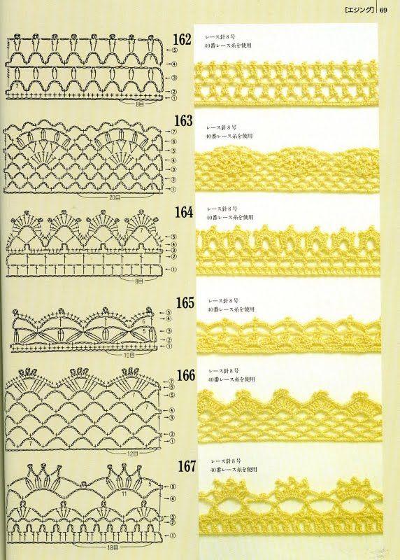 116 best Crochet edges images on Pinterest | Encajes de ganchillo ...