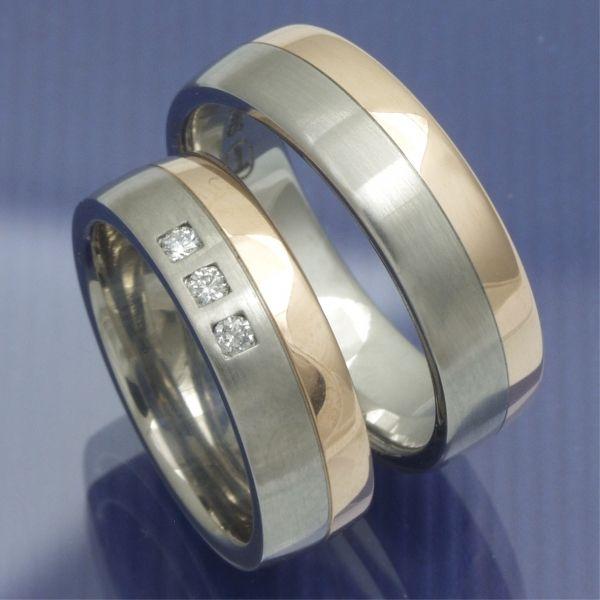 Gold und Steel Trauringe Edelstahl und 585 Rotgold PB209767