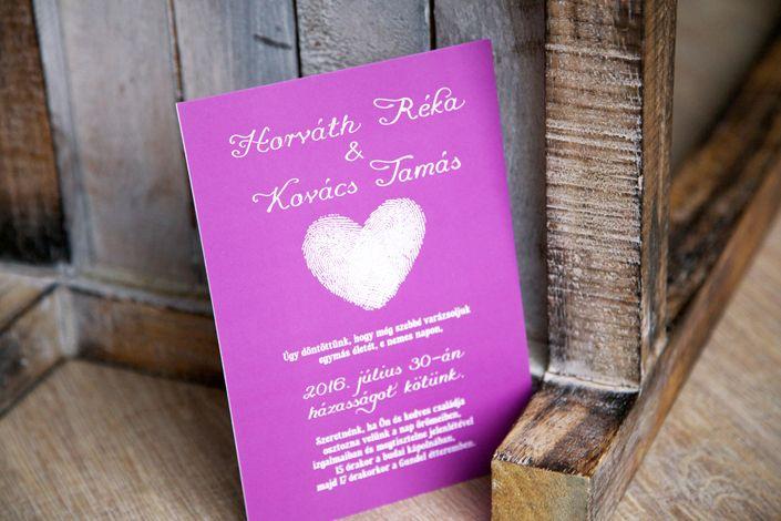 Modern Wedding Invitation, Fingerprint Wedding invitation, lilac wedding invitation