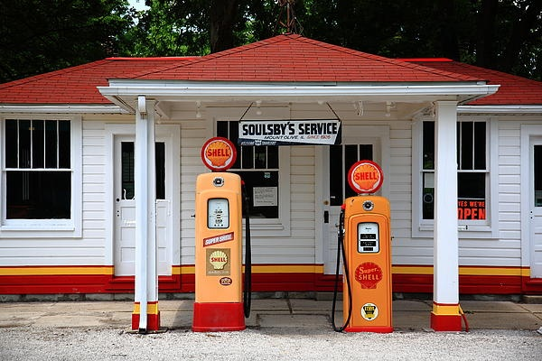 """Route 66 Fine Art Photography. Soulsby Station Gas Pumps, MT. Olive, Illinois on old Rt. 66. """"The Fine Art Photography of Frank Romeo."""": Pumps Photographers, Service Stations, Stations Pumps, Fine Art, Vintage Gas, Route 66, Soulsbi Stations, Gas Stations, Gas Pumps"""