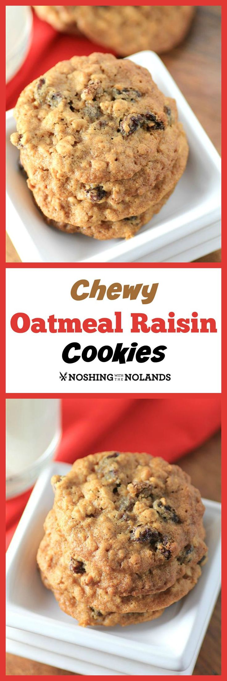 Perfect Chewy Oatmeal Raisin Cookies from Noshing with the Nolands - This is the best oatmeal raisin cookies recipe I've ever made and perfect for a picnic! CreativeCookieExchange