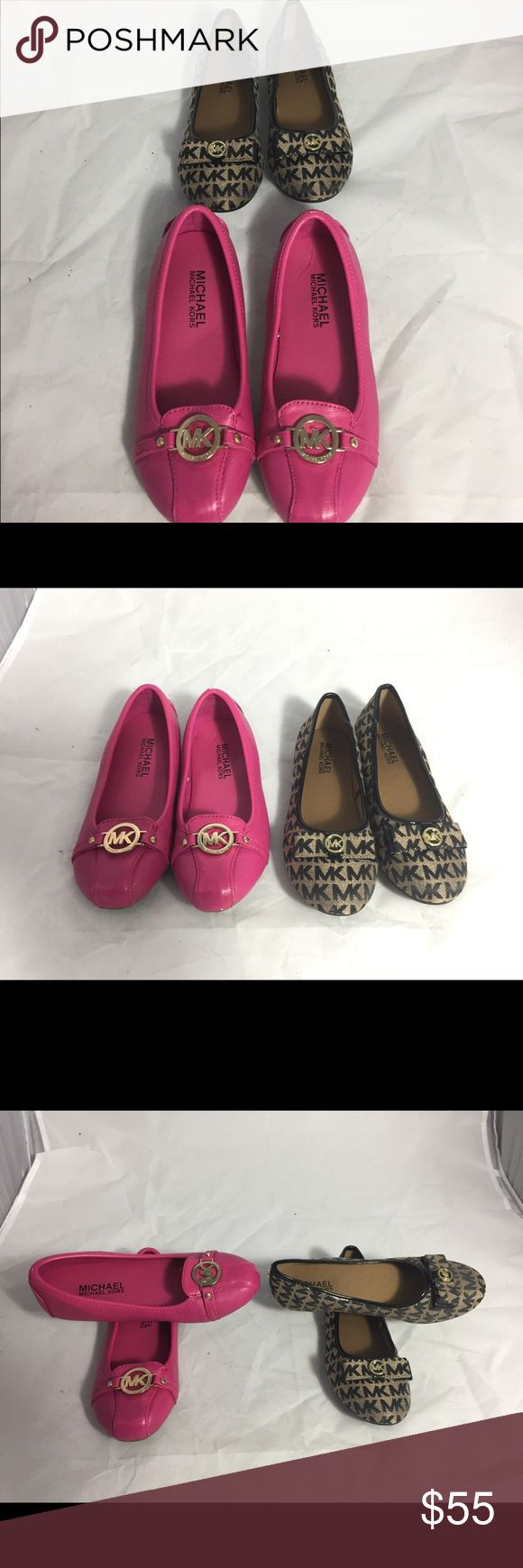 2 Pairs of MICHAEL by Michael Kors flats 2Y Here are 2 pairs of Michael Kor Girls flats. One pair, the fuschia Fukton Mia flats are gently used and the Tan/Black BOLINA2 flats are like New. MICHAEL Michael Kors Shoes