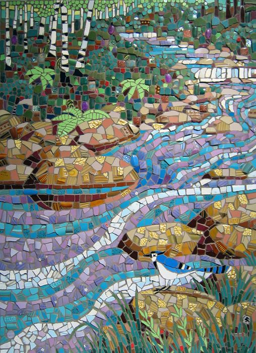 Michael Sweere Mosaic Company - I really like how the blues and purples contrast to bring your attention to the flowing waters while the green contrast carries your attention to the woods and grasses beside the cool blues of the water.