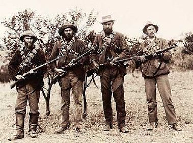 History: Above we see a group of Boers or Dutch who searched for farmland in Botswana. When they came to the land that they declared their homes, they declared all living things who lived their were their subjects.