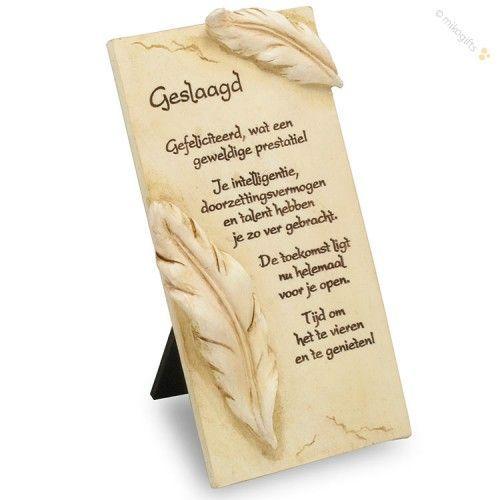 """Een mooie decoratieve tegel met """"geslaagd"""" tekst. Een leuk cadeau voor iemand die net geslaagd is! 8,5 x 15,5 cm"""