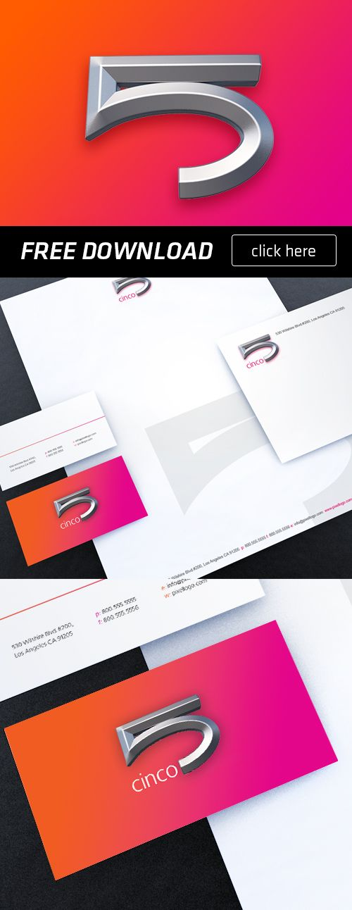 Cool Free stationery with a 3D logo, Logo is designed in Photoshop and stationery in Illustrator.