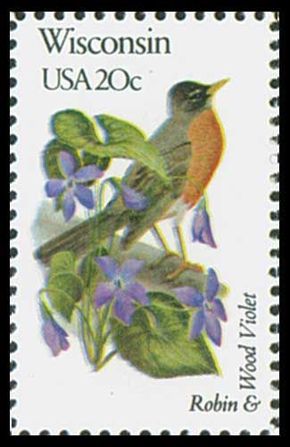 1982 20c Wisconsin State Bird & Flower - Catalog # 2001 For Sale at Mystic Stamp Company
