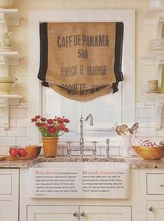Coffee sacks refashioned into curtains... I LOVE this! especially since I LOVE coffee and can't live without it!