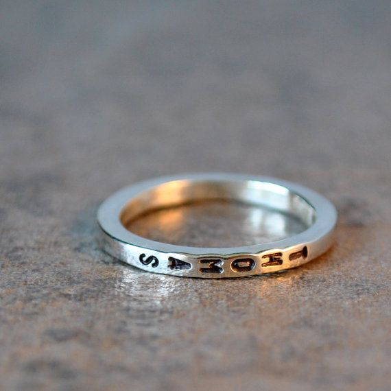 skinny stacking name ring - sterling silver and vertical letters, stacker ring. Would be nice with kids names